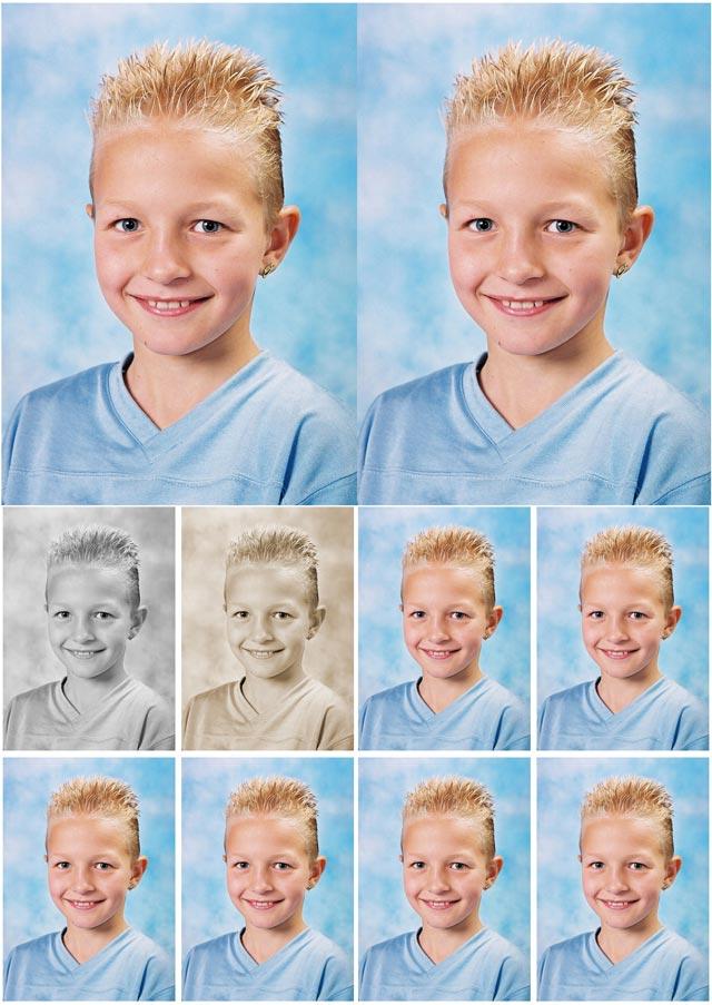 combinatievel bestaande uit 2 x 6/9 cm + 8 pasfoto's waarvan 1 sepia en 1 zwart-wit