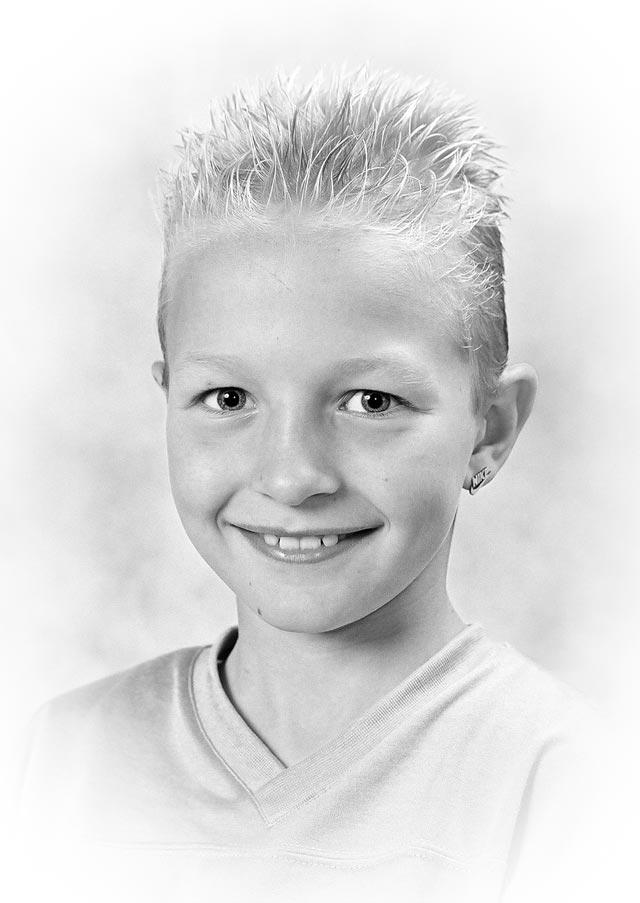 portretfoto zwart-wit met kader