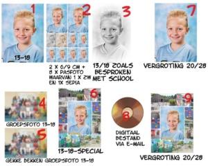 Schoolfoto's-paketten